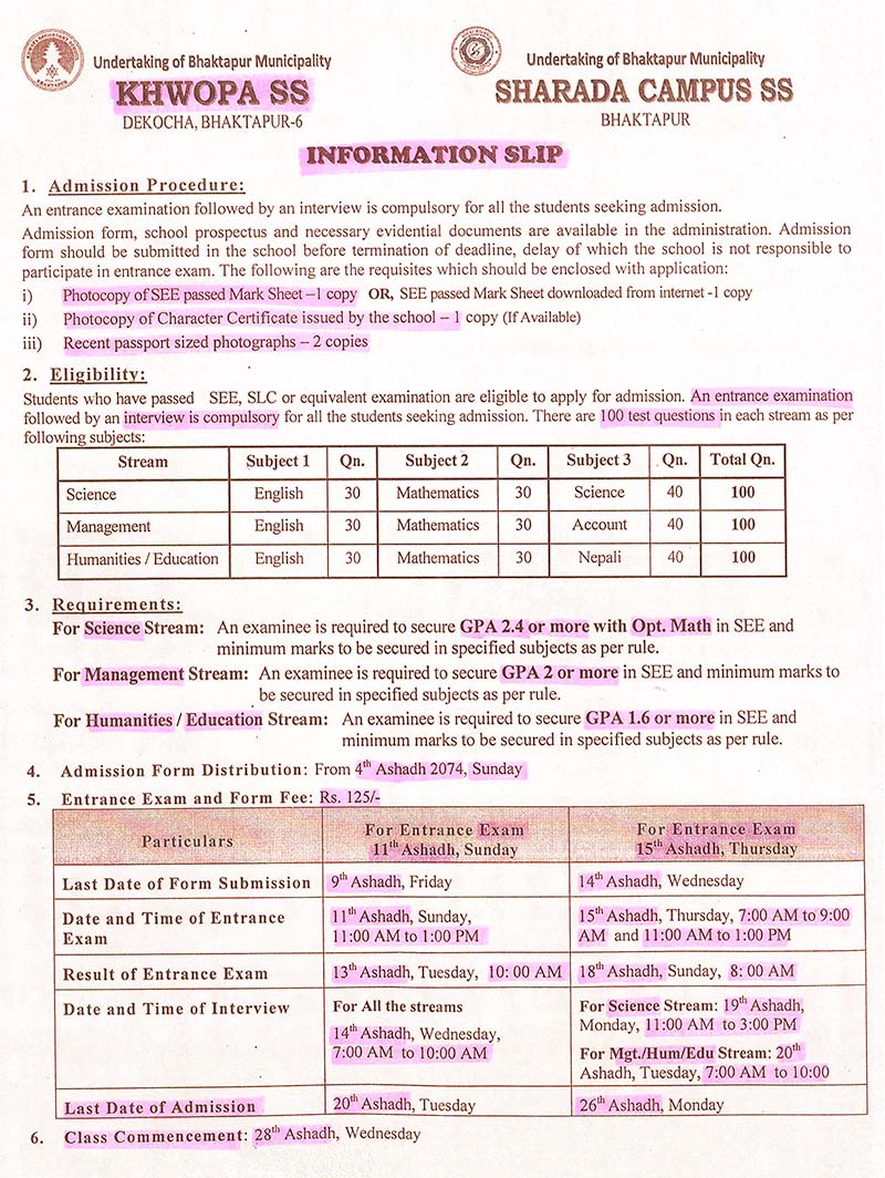 Admission Open in XI (Science, Management, Humanities & Education)