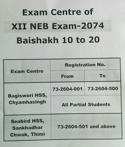 Exam Center Notice